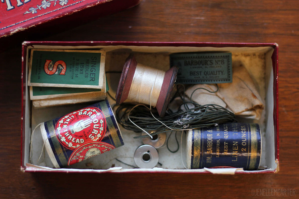 Barbour's Linen Thread Box and Sewing Supplies