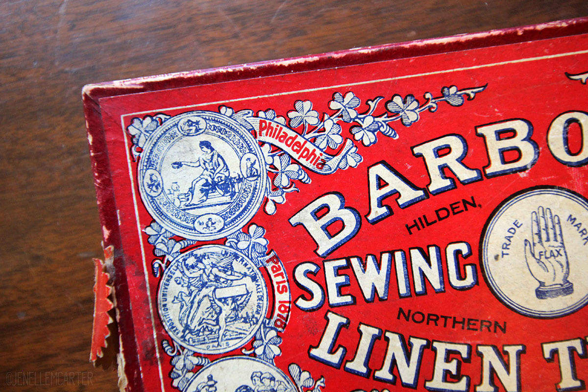 Barbour's Linen Thread Box Close Up