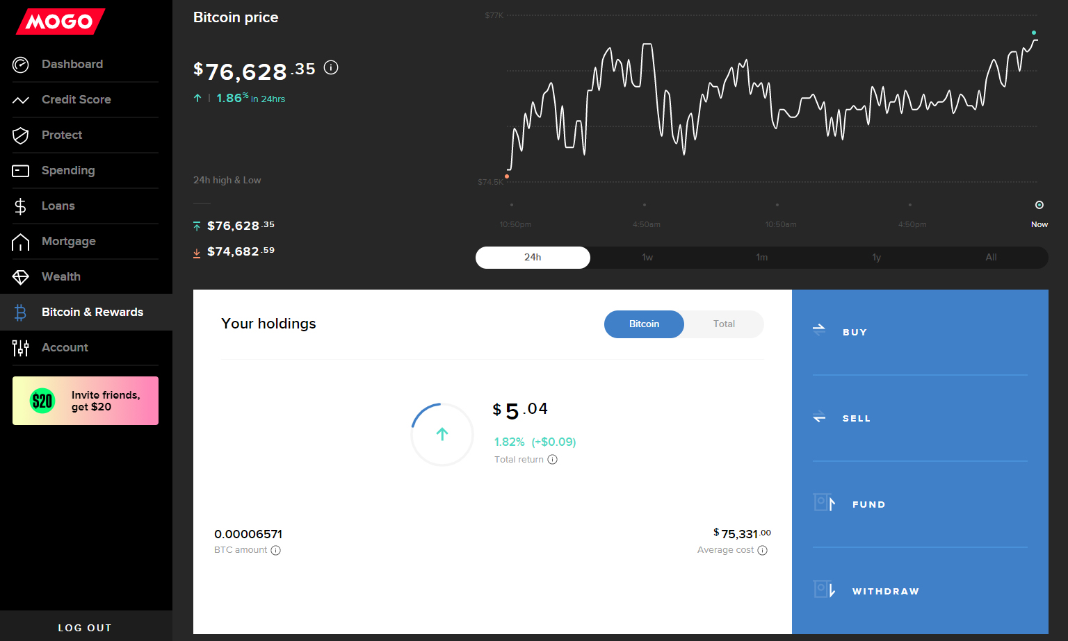 Mogo's Desktop Bitcoin Dashboard